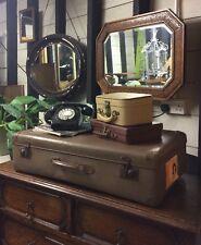 Large Vintage Faux  Leather Look Suitcase Great Decorators Piece