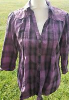 Xl Purple Plaid Bongo 3/4 Sleeve Button Down Lace Back