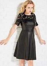 Faux Leather Fit and Flare Dress with Lace shoulders size 10 *Seconds