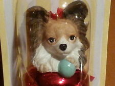 3 Pc Set PAPILLON BROWN Dog Figurine Red Brass Bell By DNC Collections Ornaments