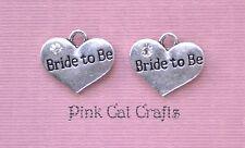 5 x BRIDE TO BE HEART WEDDING Tibetan Silver & Rhinestone Charm Pendants Beads