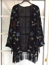 So Fabulous! Black Beaded Kimono Jacket Top 18 20 Tassels Lagenlook Xmas Ladies