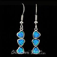 3 Heart Shape Ocean Blue Fire Opal Inlay Silver Jewellery Dangle Drop Earrings