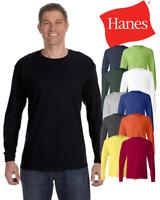Hanes Long Sleeve T-Shirt Comfort Cotton Soft Plain Blank Tee Mens 5586