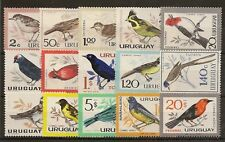 More details for uruguay 1962-63  birds postage & air set of (15) to 10p sg1205/1219 mnh