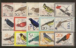 URUGUAY 1962-63  BIRDS POSTAGE & AIR SET OF (15) TO 10p SG1205/1219 MNH