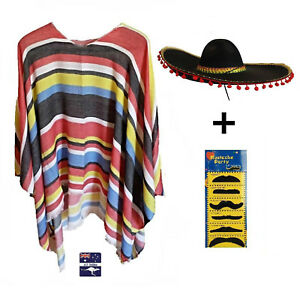 Mexican Poncho & Sombrero Red Poms Party Fancy Dress Up Costume Wild West Bandit