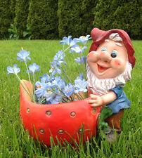 Design XL Zwerg mit  Blumentopf 27 cm Hoch  50613-1 Garten Gartenzwerg Figuren