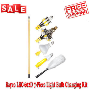 Light Bulb Changing Kit 11 Ft Pole Changer Remover Tool High Ceiling Cleaning