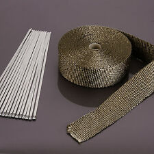 Titanium Heat Wrap 10m 10 Ties 30cm Exhaust Insulating Downpipe Manifold Rap