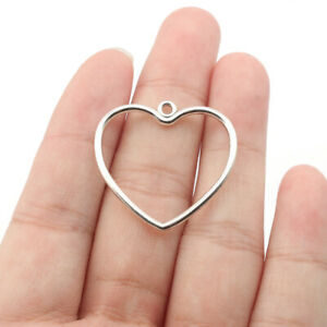20X Antique Silver Heart Frame Charms Pendants Earring Findings Jewelry Making