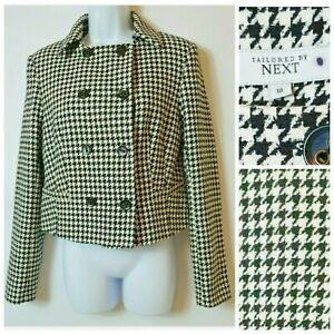 Next Collared Buttoned Down Double Breasted 60s 70s Style Smart Jacket 10 A008