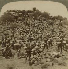 Methuen's gallant infantry storming a Kopje at Gras Pan - Boer War Stereoview