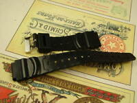 20mm NOS DIVE WATCH BAND H2O RESISTANT BLACK RUBBER DIVERS STEEL BUCKLE lot of 2