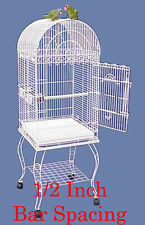 NEW Large 1/2 Inch Bar Spacing Dome Top Bird Cage For Small Size Bird W/STAND-25