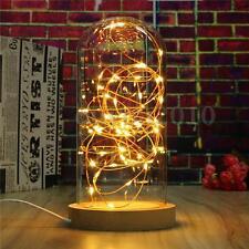 LED Fairy String Desk Table Wire Lamp Night Light Wood Base Bedroom Gift 220V