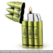 Lighter Triple Bullet Gun Refillable Butane Gas Flip Top Torch Hunter Military