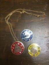 VINTAGE ALPACA MEXICO INLAID ABALONE SHELL PIN & NECKLACE PENDANT COMBO Lot Of 3