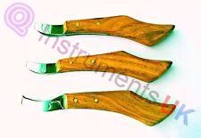 Q'UK Eye Loop Hoof Knife 3 Size Set Farriers Tool Equestrian First Aid Equipment