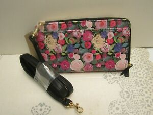 Buxton NWT RFID Floral Rose Chintz Print ULTIMATE WALLET/CROSSBODY $50 Gorgeous!