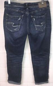 Silver Jeans Sam 28 x 27L Distressed Thick Stitched Stretch Blue Denim ~CUTE!