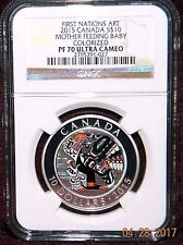 2015 CANADA $10 1ST NATIONS MOTHER FEEDING BABY SILVER HOLOGRAM COIN NGC PF70 UC