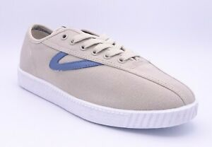 Tretorn Nylite Women's Beige Blue Low Top Lace Up Trainers Size UK 6.5 EU 40