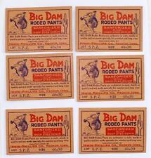 Lot of 6 1940 Big Dam Rodeo Pants Labels Irwin Phillips Co Keokuk, Iowa