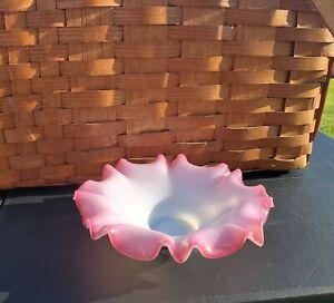Victorian Brides Basket Bowl Cranberry Pink Rim fluted glass vintage pontil