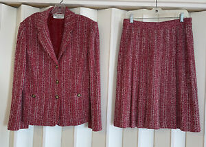 ST. JOHN Collection By Marie Gray Red/Wht Tweed Knit Skirt Suit~Jkt-12 Skirt-10