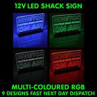 12V MULTI COLOUR RGB LED SHACK SIGN HAM AMATEUR RADIO CALL SIGN ON AIR MIC LIVE