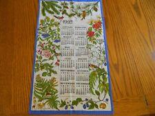 L-21 Vintage 1992 Cotton Calendar Towel Birds & Berries