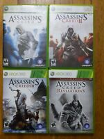 USED (Complete) Assassins Creed I,II,III + Revelations Xbox 360 Lot of 4 Bundle