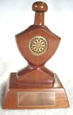 Wooden Treen Polished Darts Trophy Award 14.5cm Tall With Blank Brass Plaque.