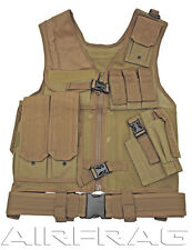Taigear Premium Adjustable Tactical Vest with Belt and Holster - Tan 25045T