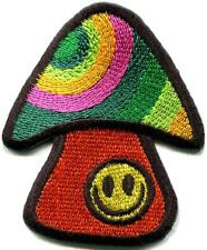 Mushroom smiley face retro hippie boho peace weed applique iron-on patch S-1080