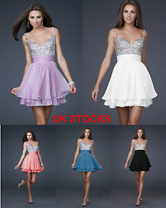 UK Stock Bling Bling Party Dress Evening Gowns Cocktail Size 6 8 10 12 14