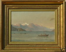 C. F. SORENSEN FJORD WITH SHIPS AND GEESE LISTED 19 c. SIGNED OIL PAINTING