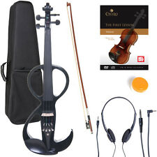 NEW 4/4 Ebony Electric Violin w/Pickup -Black & Style3