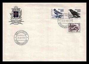 Iceland 1981 FDC, Birds. Icelandic Wren, Golden Plover, Raven. Lot # 1.