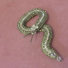 Vintage signed KJL Snake pin Silver and Gray Rhinestones Silver tone metal