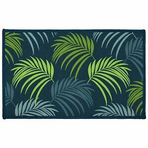 Tapis antidérapant - 50 x 80 cm - Blue végétal, feuilles de palmier - Bleu
