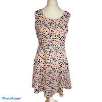 Cutie London Cream Multi Coloured Square Pattern Summer Lined Dress Size 12