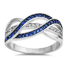 Blue Sapphire Infinity Love  Sterling Silver Ring