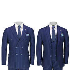Mens 3 Piece Navy Double Breasted Suit 1920 Retro Pinstripe Classic Tailored Fit