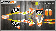 KTM SX50 SX65 Graphics Kit with custom numbers etc - SX 50 65 2002-2019 Fluoro
