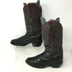 Lucchese 2000 Western Cowboy Ostrich Boots Mid Calf Leather Brown Mens 8.5 E