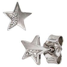 Ohrstecker Stern 4 Diamanten 0,022ct. 585 Weißgold mattiert Ohrringe 30515