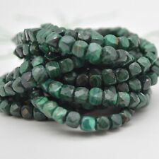 """Natural Malachite Gemstone Faceted Cube Beads - 3mm - 4mm - 15.5"""" strand"""