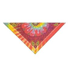 Top Performance Tie Dyed Paisley Bandana Dog Scarf Neck Orange Blue One Size 21""